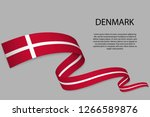 waving ribbon or banner with...   Shutterstock .eps vector #1266589876