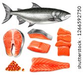 Salmon Fish Raw Steaks And...