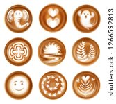 set of realistic latte art... | Shutterstock .eps vector #1266592813