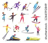 winter sports set with skiing... | Shutterstock .eps vector #1266592849