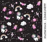 unicorn  rainbow  space... | Shutterstock .eps vector #1266614899