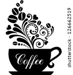cup of coffee with floral... | Shutterstock .eps vector #126662519