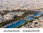 aerial view on seine river with ... | Shutterstock . vector #1266626920