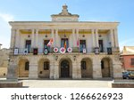 town hall facade in the town of ... | Shutterstock . vector #1266626923