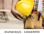 close up of hard hat holding by ... | Shutterstock . vector #126664040