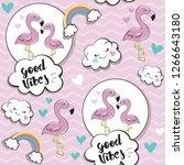 flamingos with inscription good ... | Shutterstock .eps vector #1266643180