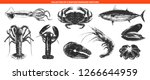 vector engraved style sea food... | Shutterstock .eps vector #1266644959