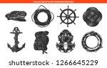 vector engraved style sea ship... | Shutterstock .eps vector #1266645229