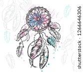 dreamcatcher hand drawn sketch... | Shutterstock .eps vector #1266646306