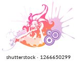 woman listening to music | Shutterstock .eps vector #1266650299