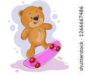 happy fantasy teddy bear riding ... | Shutterstock .eps vector #1266667486