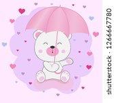 cute fantasy teddy bear sitting ... | Shutterstock .eps vector #1266667780