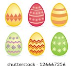 colorful easter eggs isolated... | Shutterstock . vector #126667256