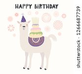 hand drawn card with cute llama ... | Shutterstock .eps vector #1266687739