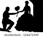 wedding couple on white... | Shutterstock . vector #126671549
