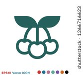 cherry icon vector  fruit...   Shutterstock .eps vector #1266716623