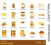 coffee icons including... | Shutterstock .eps vector #1266717496