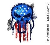 skull with american flag... | Shutterstock .eps vector #1266726940