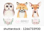 Stock photo watercolor set of forest cartoon isolated cute baby fox deer and owl animal with flowers nursery 1266733930
