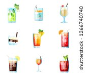 set of nine tropical cocktails... | Shutterstock .eps vector #1266740740