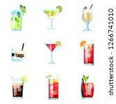 set of nine tropical cocktails... | Shutterstock .eps vector #1266741010