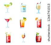 set of nine tropical cocktails... | Shutterstock .eps vector #1266741013