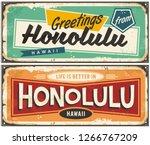 honolulu hawaii tin sign... | Shutterstock .eps vector #1266767209