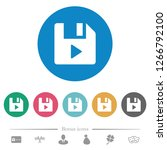 file play flat white icons on... | Shutterstock .eps vector #1266792100