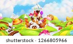 sweet castle. panorama... | Shutterstock .eps vector #1266805966