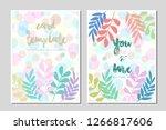 card template leaves pastel...   Shutterstock .eps vector #1266817606