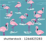 flamingos in the water. vector... | Shutterstock .eps vector #1266825283