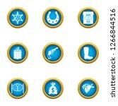 Saloon Robbery Icons Set. Flat...