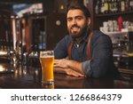 handsome bearded bartender... | Shutterstock . vector #1266864379