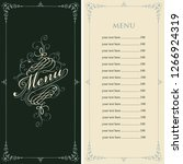 vector menu for restaurant or... | Shutterstock .eps vector #1266924319