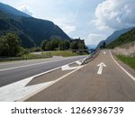 curved asphalt road with... | Shutterstock . vector #1266936739