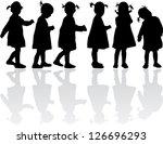 group of children's silhouettes   Shutterstock .eps vector #126696293