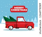 pickup truck with christmas tree | Shutterstock .eps vector #1266978589