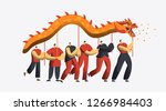chinese new year dragon dance... | Shutterstock .eps vector #1266984403