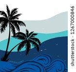 summer beach graphic | Shutterstock . vector #1267000846