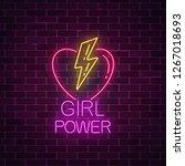 girls power sign in neon style...   Shutterstock .eps vector #1267018693