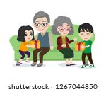 set of cute happy family... | Shutterstock .eps vector #1267044850