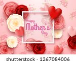 happy mother's day with rose... | Shutterstock .eps vector #1267084006
