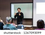 asian speaker or lecture with... | Shutterstock . vector #1267093099
