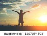 silhouette of little girl...   Shutterstock . vector #1267094503