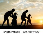 silhouette of children playing    Shutterstock . vector #1267094929