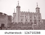 Tower of London, England, UK in Black and White Sepia Tone - stock photo