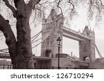 Tower Bridge in London, England, UK in Black and White Sepia Tone in Winter - stock photo