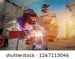 welding arc worker with spark... | Shutterstock . vector #1267113046