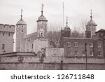 Tower of London; England; UK in Black and White Sepia Tone - stock photo