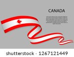 waving ribbon or banner with... | Shutterstock .eps vector #1267121449